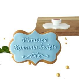 Stempel - Pierwsza Komunia Święta ornament- etykieta