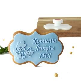 Stempel - Komunia Święta IHS winogrono - etykieta