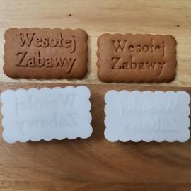 Prostokąt z falbanką z indywidualnym napisem - spersonalizowane stemple do ciastek