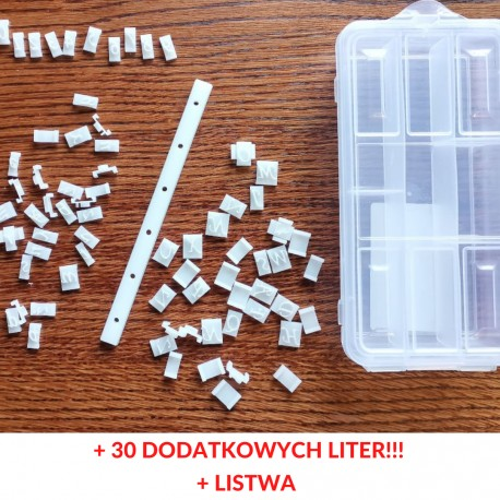 Zestaw Alfabet 13 mm + organizer + listwa