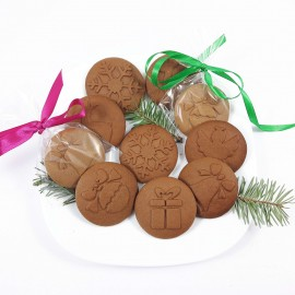 Komplet 6 stempli do ciastek - śnieżynka, renifer, anioł, bombka, dzwonek, prezent